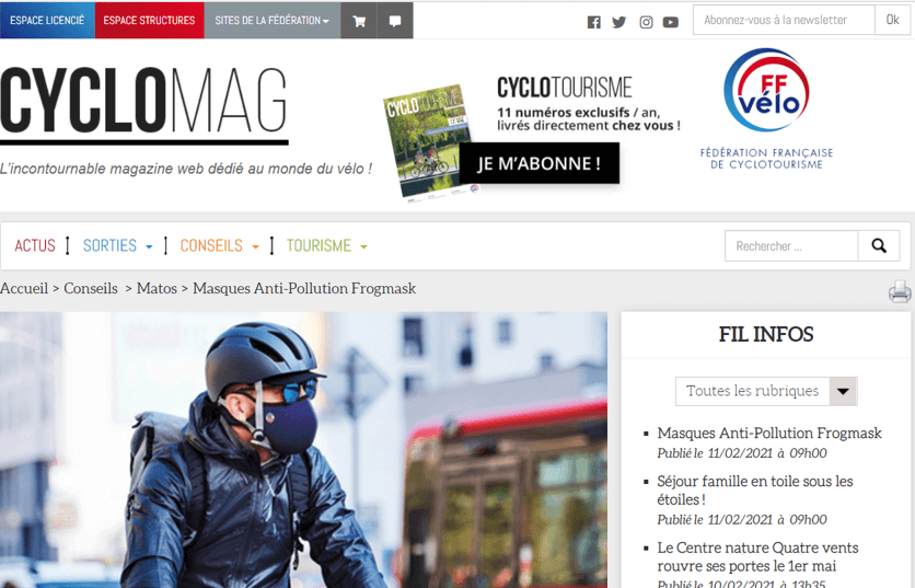 Article Cyclomag sur Frogmask
