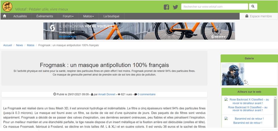 Article sur Frogmask dans vélotaf