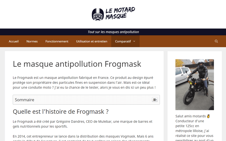 article le motard masqué frogmask