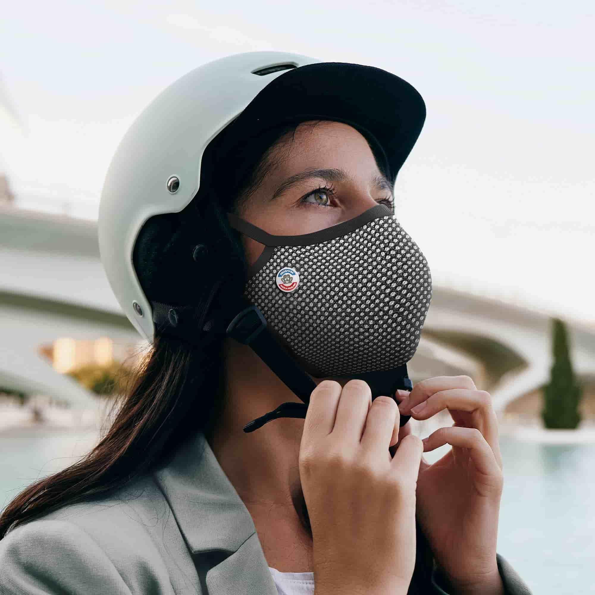 Masque Frogmask noir & blanc pour cyclistes et motards
